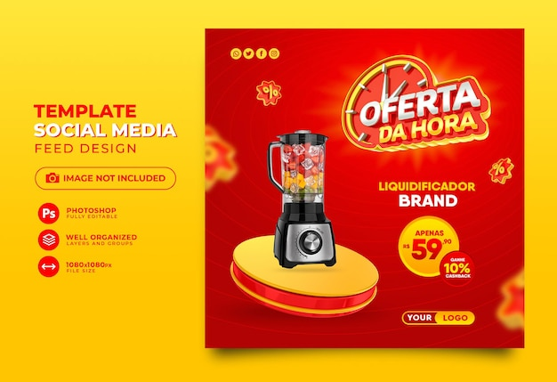 Post social media-aanbieding van het uur in brazilië, geef 3d-sjabloonontwerp weer in het portugees