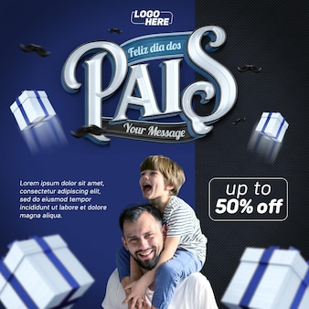 Post sociale media gelukkige vaderdag in brazilië 3d render sjabloonontwerp hart Premium Psd