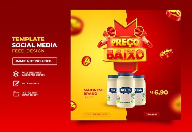 Post sociale media in brazilië lage prijs 3d render sjabloonontwerp portugees