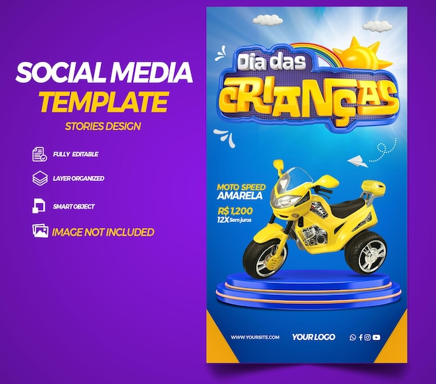 Post sociale media verhalen kinderdag in brazilië 3d render sjabloonontwerp in het portugees