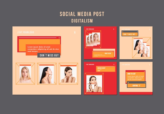 Post sui social media del digitalismo con foto
