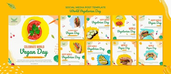 Post sui social media della giornata vegetariana mondiale