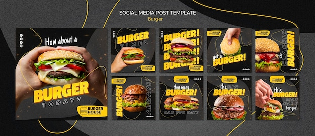 Post sui social media di burger