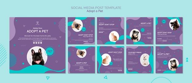 Post sui social media per l'adozione di animali domestici