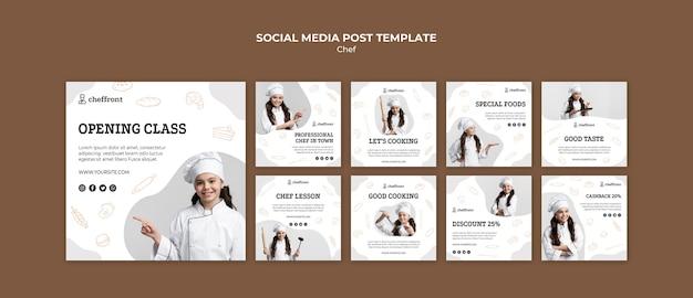 Post sui social media per lezioni di cucina