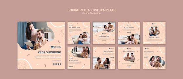 Post sui social media per lo shopping online