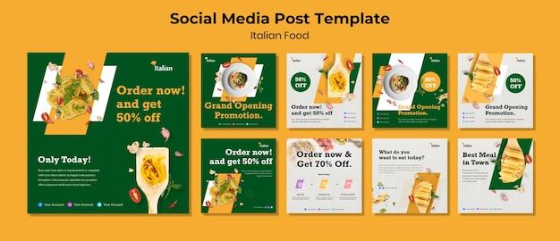 Post sui social media sul cibo italiano