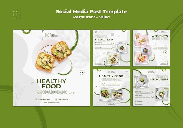 Post voor gezonde voeding op sociale media