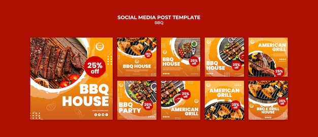 Posta di social media americana barbecue e grill house