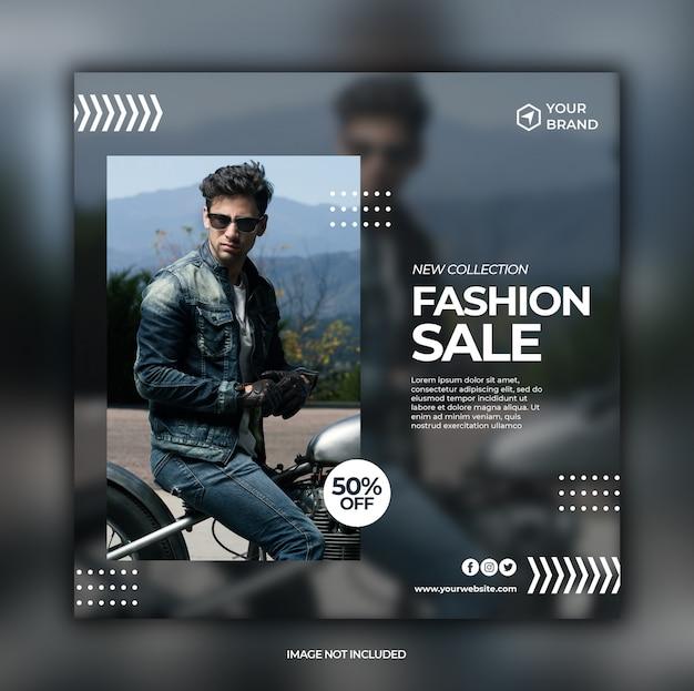 Posta di social media di vendita di moda e modello quadrato banner web