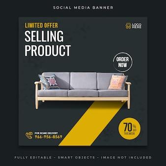 Posta o banner dei social media di vendita di mobili