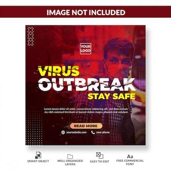 Posta quadrata dell'insegna del social media di avvertimento del virus. concetto di coronavirus