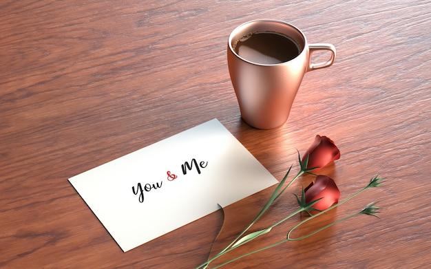 Postal de san valentín con rosas y taza.