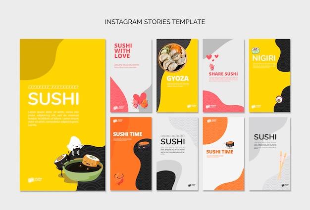 Poste di media sociali del ristorante asiatico di sushi