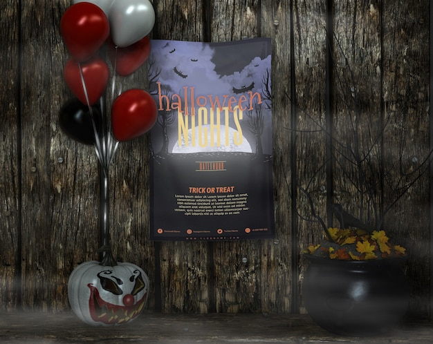 Poster con le notti di halloween mock-up e palloncini