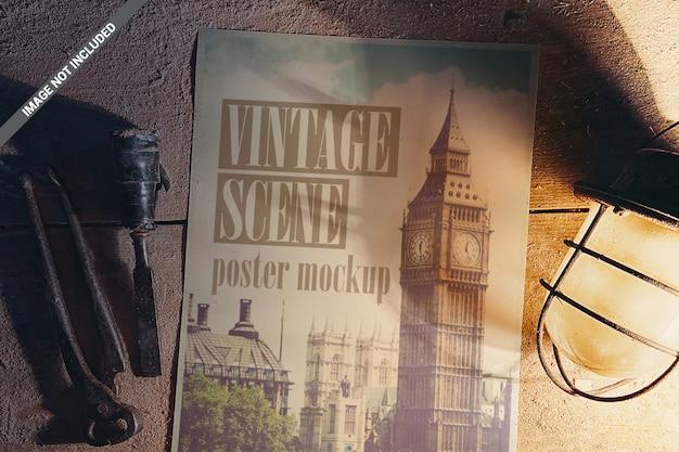 Poster con mockup di strumenti vintage
