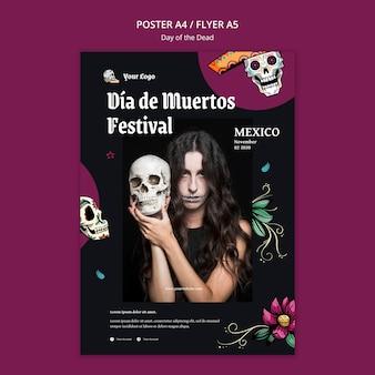 Poster dag van de dode advertentiesjabloon