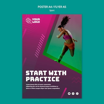 Poster del modello di annuncio di allenamento di calcio