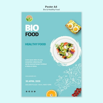 Poster del ristorante con cibo sano