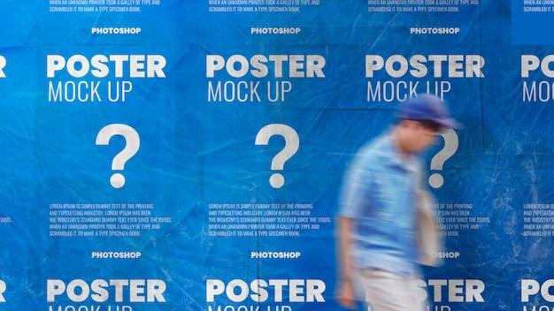 Poster di carta da parati piastrellato spiegazzato e mockup realistico