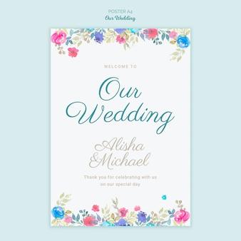 Poster di concetto di matrimonio colorato