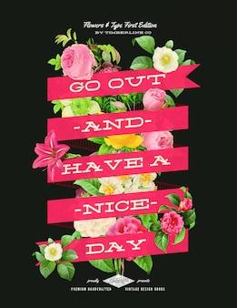 Poster di fiori stile disegnato a mano