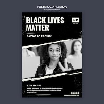 Poster di materia minimalista di vite nere