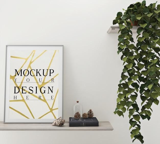 Poster di mockup con decorazione e fioriera