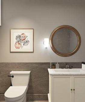 Poster di mockup frame nella moderna e lussuosa stanza delle polveri