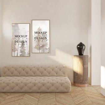 Poster di mockup nel moderno salotto classico con divano