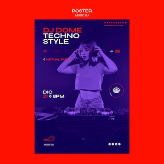 Poster dj set plantilla de transmisión en vivo