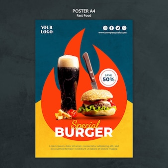 Poster fastfood-sjabloon