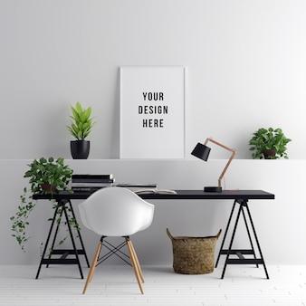 Poster frame mockup area di lavoro interna con decorazioni