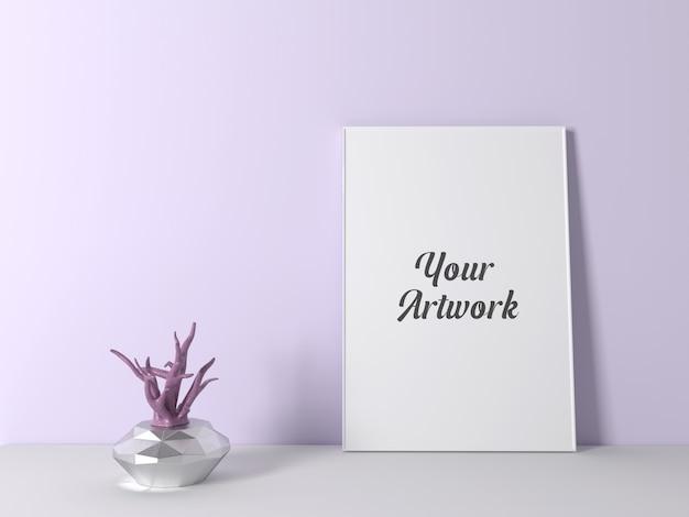 Poster frame mockup con sfondo colord