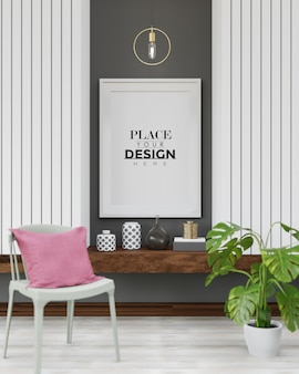 Poster frame mockup in de woonkamer