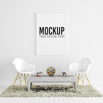 Poster frame mockup in white interior con decorazione