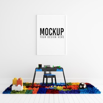 Poster frame mockup in white interior con decorazione