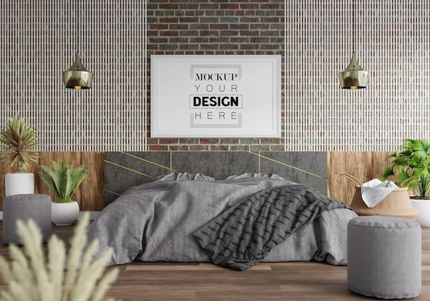 Poster frame mockup interieur in een slaapkamer