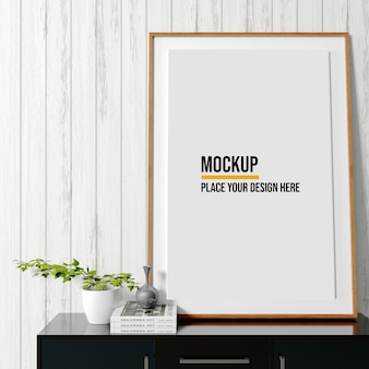 Poster frame mockup interieur scène met decoraties