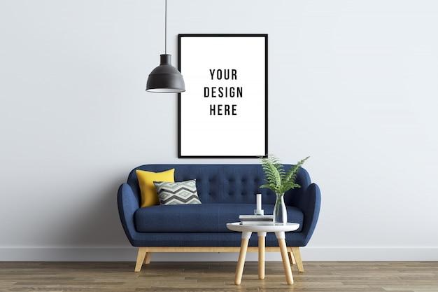 Poster frame mockup interior con divano e decorazione