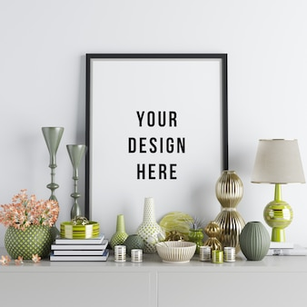 Poster frame mockup interior scene with decorations