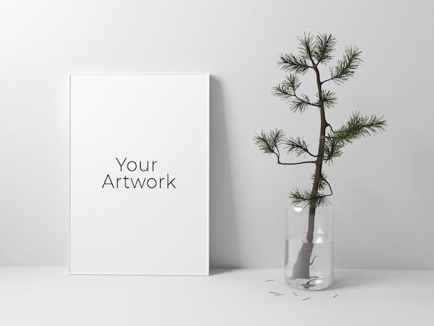 Poster frame mockup met kleine boom