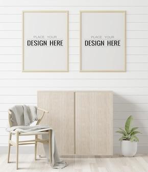 Poster frames in woonkamer mockup