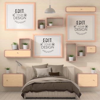 Poster frames mockup in een slaapkamer