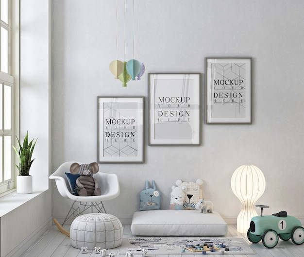 Poster frames mockup in monochrome speelkamer met schommelstoel