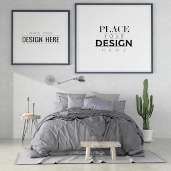 Poster frames mockup interieur in een slaapkamer