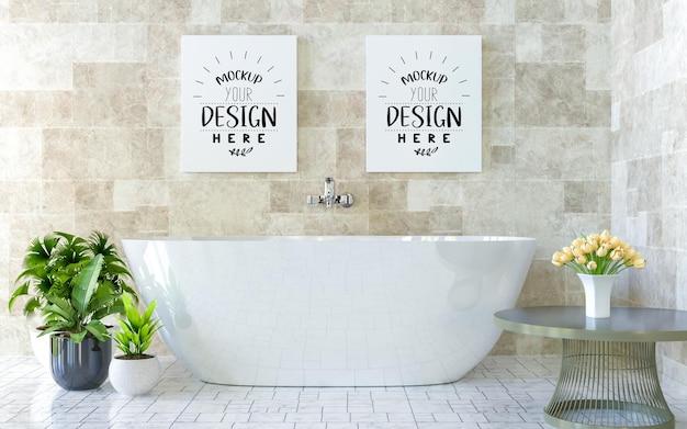 Poster frames mockup op badkamer interieur