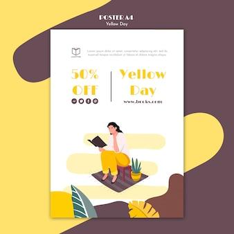 Poster met geel dagontwerp