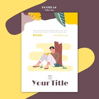 Poster met gele dag concept