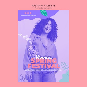 Poster met vrouw lente festival concept